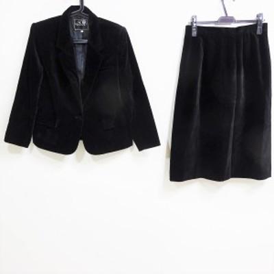 トウキョウソワール Tokyo Soir スカートスーツ サイズ15 L レディース - 黒 ベロア【還元祭対象】【中古】20210310
