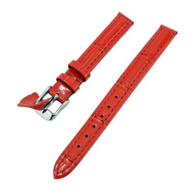 腕時計 ベルト 本革 10mm クロコダイル型押し レザーバンド Diloy P262エリート レッド