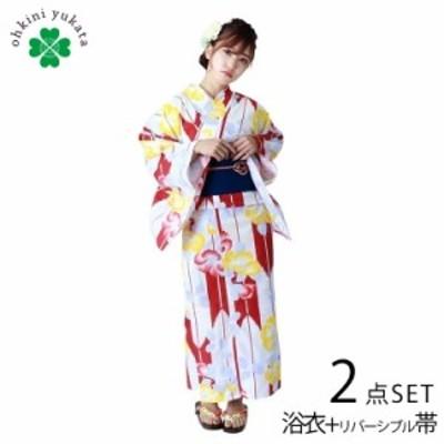 浴衣セット レディース 婦人 浴衣 帯 2点セット 白 赤 黄色 矢羽 椿 Fサイズ フリー リバーシブル帯 浴衣帯 平織り 2020 簡単