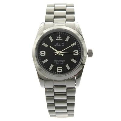 エルジン 腕時計 メンズ ELGIN ブラック シルバー