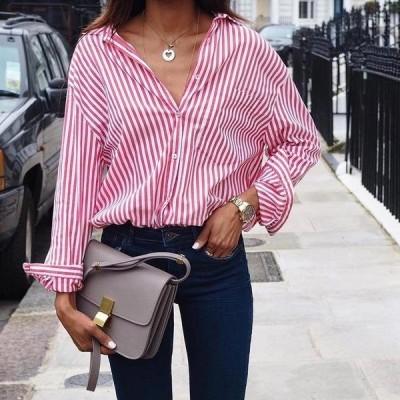 レディース 衣類 トップス Women Long Sleeve Button Down Collar Blouse Shirts ブラウス&シャツ