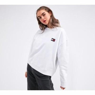 トミー ジーンズ Tommy Jeans レディース スウェット・トレーナー トップス logo relaxed fit sweatshirt Classic White