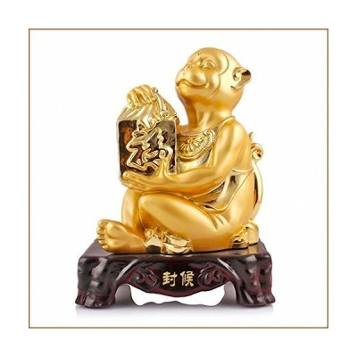 BOYULL Large Size Chinese Zodiac Monkey Golden Resin Collectible Figurines Table Decor Statue【並行輸入品】