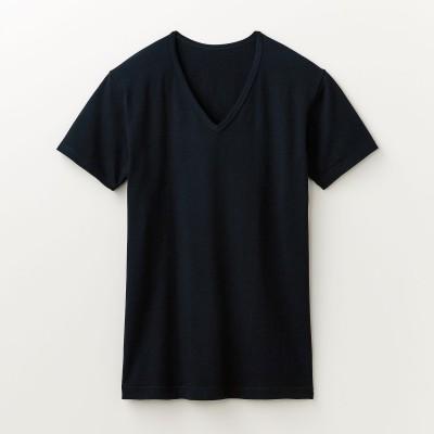 綿混あったかインナー・Vネック半袖メンズ【おうちで節電・防寒対策】(ホットコット)