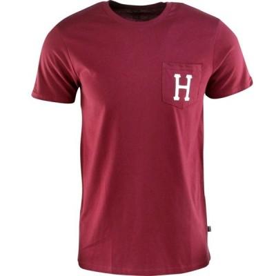ハフ HUF メンズ Tシャツ ポケット トップス Classic H Pocket Tee burgundy/wine