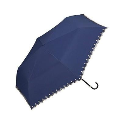 w.p.c 折りたたみ 日傘 UVカット 晴雨兼用 50cm 遮光 遮熱 星柄スカラップmini 05.ネイビー801-972