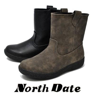 防寒 カジュアル スノーブーツ 黒 スパイク NORTH DATE ハーフ ノースデイト 12736 冬 雪道 防滑 レディース ペコスブーツ ダテハキ 婦人靴