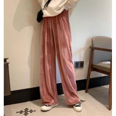 韓国 ファッション レディース ワイドパンツ ハイウエスト ベルベット 光沢 リブ ウエストゴム ゆったり 無地 カジュアル シンプル