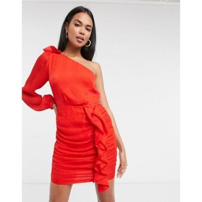 アリアコーブ ミニドレス レディース Aria Cove one shoulder ruffle mini dress in red エイソス ASOS レッド 赤