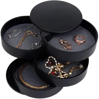 アクセサリートレイ 回転式 4段 おしゃれ かわいい コンパクト 便利 アクセサリー 収納 ケース 指輪 ピアス ネックレス 鍵 ブラック
