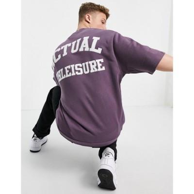 エイソス スウェット トレーナー メンズ ASOS Actual short sleeve sweatshirt in purple with applique logo エイソス ASOS パープル 紫