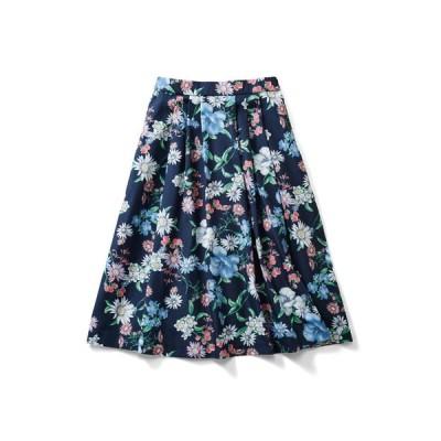 フェリシモ IEDIT[イディット] 華やか柄でコーディネイトが着映えする花柄フレアースカート〈ネイビー〉