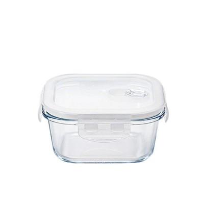 密封保存容器 耐熱ガラス 4面ロック 角スクエア 500ml クックロック アデリア/石塚硝子(H-8761) キッチン、台所用品