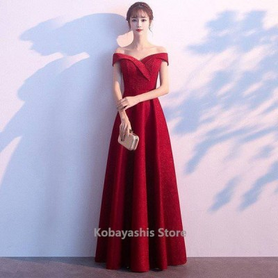 オフショルダーイブニングドレス披露宴ロング丈パーティードレス結婚式二次会ゲストドレスワインロングドレス編み上げ