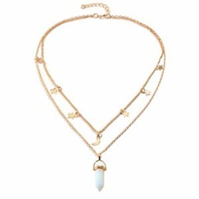 Fairyu Layered Crystal Gemstones Pendant Necklace Gold Dainty Star Moon Choker Necklace Chakra Necklaces Pentagram Pentacle Neck