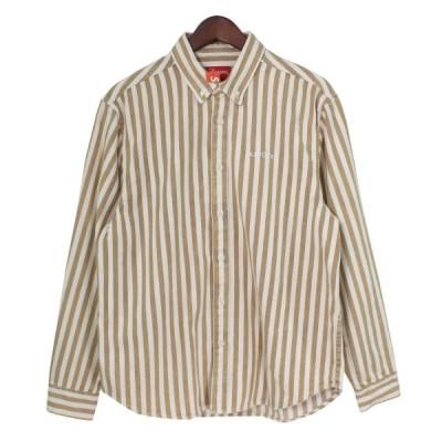 【11月16日値下】SUPREME 19AW Denim Shirt クラシックロゴストライプボタンダウンシャツ タン(ベージュ) サイズ:S (吉祥