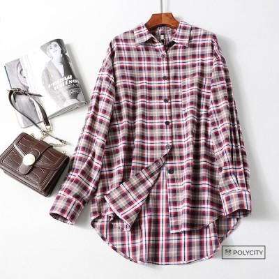 秋の新作 レディースシャツ ブラウス コート 綿 格子 開襟 ゆったり ドロップショルダー 長袖 気質 カジュアル 3色選択可能