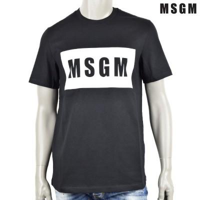 MSGM エム・エス・ジー・エム LOGO BOX T-SHIRT/Tシャツ/ブラック×ホワイト/ 3040MM67 217098 99