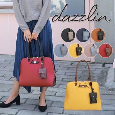 ダズリン dazzlin 通販 3カラ—配色ブガッティ—L レディース バッグ トートバッグ 大きめ a4 通勤 通学 ファスナー 肩掛け 大容量 花柄 リボン シンプル
