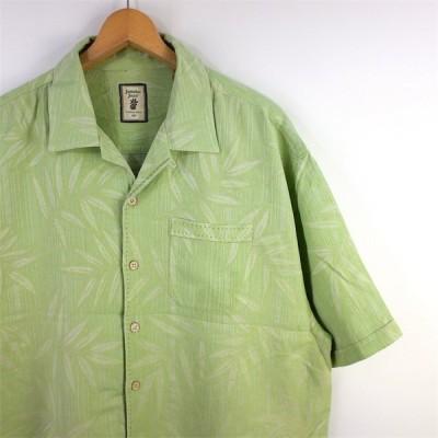 古着 大きいサイズ JAMAICA JAXX 半袖シルクハワイアンシャツ メンズUS-XXLサイズ ループカラー ライトグリーン系 リーフ総柄 ボックス裾 アロハ sh-3049n