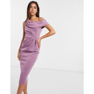 エイソス レディース ワンピース トップス ASOS DESIGN drape fallen shoulder midi pencil dress in lilac Lilac