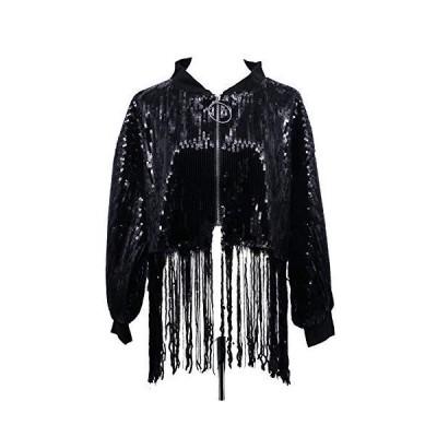 Arsimus Loose-Fit Sequin Crop Jacket with Fringes (Black)並行輸入品 送料無料