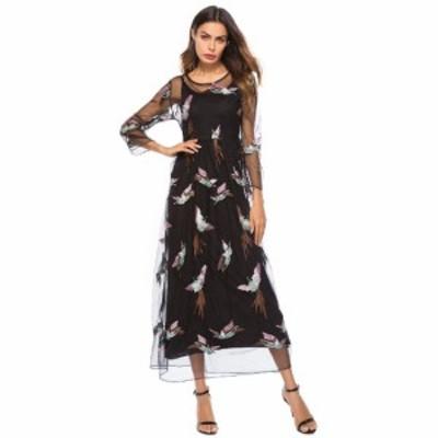 即納あり ロングドレス 袖あり 大きいサイズ シースルー 個性的 ワンピースドレス 刺繍 鶴 ブラック 3XL 2XL 春夏 パーティードレス デー