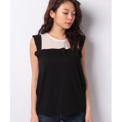 【シスレー】 シフォン切り替えカラーブロックノースリーブTシャツ・カットソー レディース ブラック S (国内M相当) SISLEY