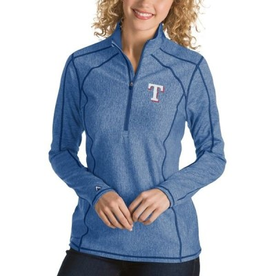 アンティグア ジャケット・ブルゾン アウター レディース Texas Rangers Antigua Women's Tempo Desert Dry 1/4-Zip Pullover Jacket Heathered Royal