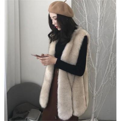 クールでカジュアルなスタイル 韓国ファッション 2020年秋 冬 新 イミテーションフォックス ファー ベスト 女性 中・長セクション 韓国 スリム 暖かい タンクトップ Vネック 百掛け