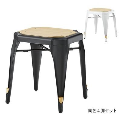 椅子 同色4脚セット スタッキング可 スツール PC-460 幅41x奥行39x高さ46cm 東谷