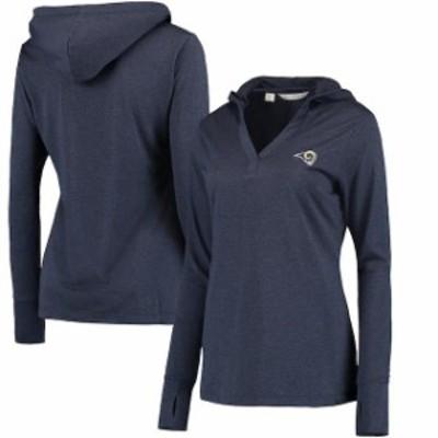 Cutter & Buck カッター アンド バック スポーツ用品  Los Angeles Rams Womens Navy Chelan DryTec Long Sleeve Hooded