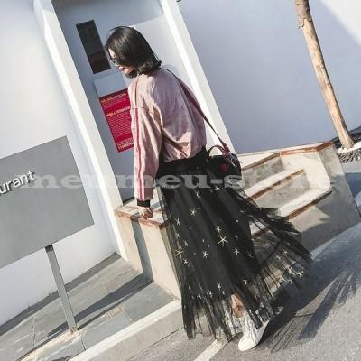 チュールスカート シースルースカート ロングスカート 重ね着風スカート レディース 星 スター 黒 大人可愛い 可愛い かわいい 透け感 カジュアル