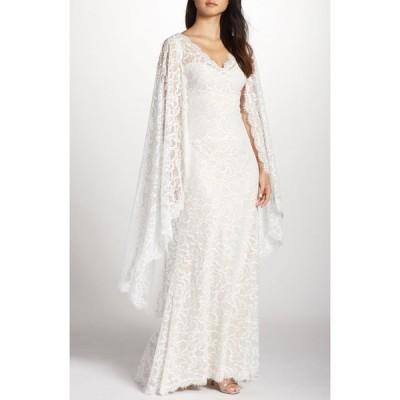 タダシショージ TADASHI SHOJI レディース パーティードレス ワンピース・ドレス Cape Detail Lace Gown Ivory/Natural