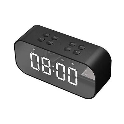 OBEST クロックラジオ デジタル アラーム 目ざまし時計 デジタル Bluetooth 5.0 プレイ 鏡 置き時計 多機能 省エネ (ブラック)