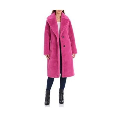 Avec Les Filles Bonded Faux Fur Long Coat Fuchsia LG