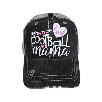 NEW!! グリッター Football Mama Distressed ルック グレー Trucker キャップ ハット スポーツ(海外取寄せ品)