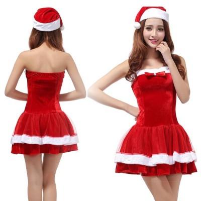 サンタ ワンピース レディース サンタクロース クリスマス フリーサイズ セットアップ 帽子付き セクシー