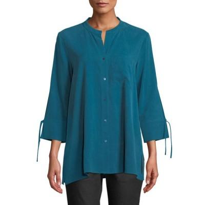 エイリーンフィッシャー レディース シャツ トップス Petite Fuji Silk 3/4-Sleeve Blouse