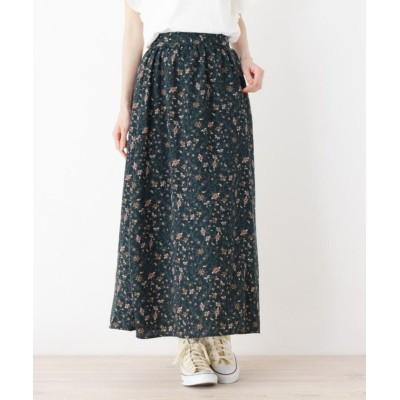 【ピンクアドベ】 ペイズリープリントギャザースカート レディース ダーク グリーン 38(M) pink adobe