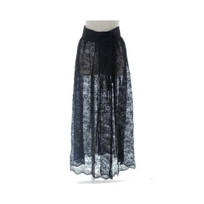 【中古】未使用品 マルシャルテル MARECHAL TERRE 18SS Wrap skirt ラップ スカート 巻き ロング  花柄 総レース ブラック 黒 2 レディース 【ベクトル 古着】