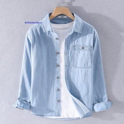 シャツ メンズ 無地 長袖 デニムシャツ ポケット付き 綿 柔らかい 羽織り ウォッシュ加工 カジュアル