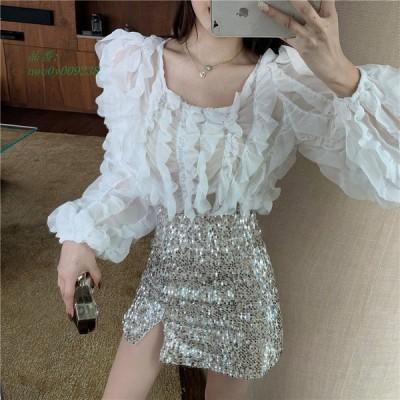 2020 新作 韓国 レディースファッション スタイル 長袖 ブラウス 個性的 ダンス シャツ カラフル 衣装
