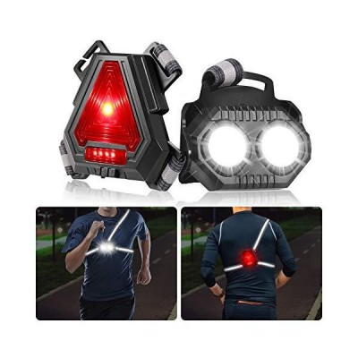 Night Running Lights for Runners,B-right,LED Chest Lights U SB Rechargeable Battery,Reflective Running Gear,90°Adjustable