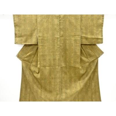 リサイクル 縞に花鳥更紗模様上代紬着物
