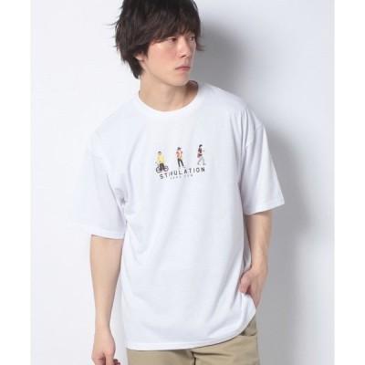 【ウィゴー】WEGO/ヒューマン刺繍半袖Tシャツ