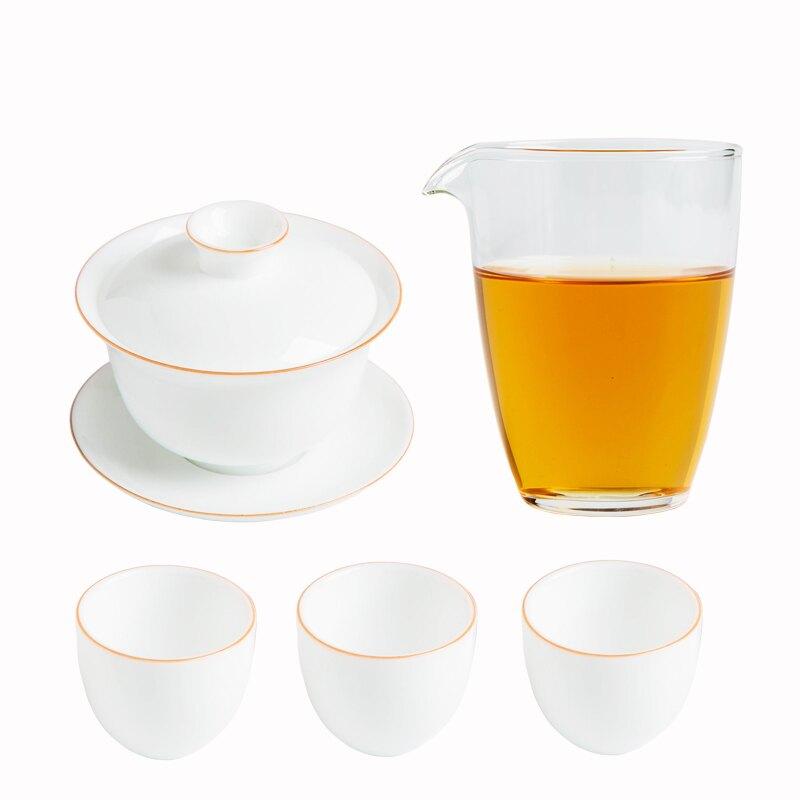 盞上清歡甜白蓋碗茶杯便攜式旅行陶瓷三才碗茶具薄胎蓋碗
