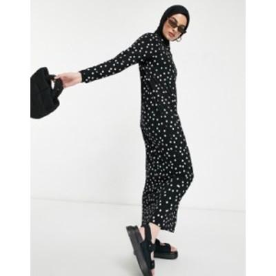 エイソス レディース ワンピース トップス ASOS DESIGN long sleeve maxi t-shirt dress in black and white polkadot Black and white s