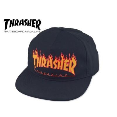 ☆THRASHER【スラッシャー】FLAME SNAPBACK BLACK フレーム キャップ ブラック 15660 [スケボー SNAPBACK スナップバック バラ]