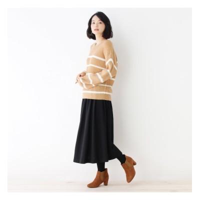【ピンクアドベ/pink adobe】 【セットアイテム】Vネックニット+ギャザースカート